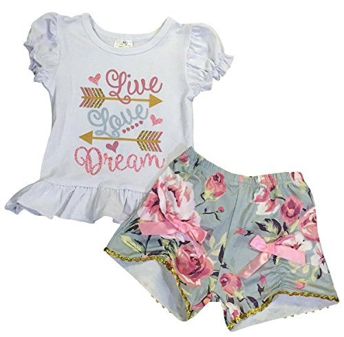 2 Piece 4 Arrow - Little Girls' 2 Pieces Short Set Live Love Dream Arrow Floral Shorts Kids Outfit White 5 L (P501446P)