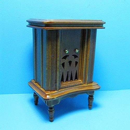Dollhouse Miniature Antique Radio in Walnut D - My Mini Fairy Garden Dollhouse Accessories for Outdoor or House - Miniature Radio