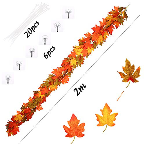JOHOUSE 78Inch Fall Garland Maple Leaf, Autumn Hanging Fall Leave Vines for Thanksgiving Party House Wall Door and Halloween Christmas Decoration