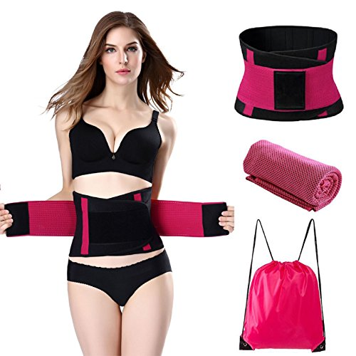 - Waist Trainer Waist Trimmer Belt Slimmer Kit Body Shaper, Waist Cincher, Belly Wrap for Weight Loss Includes Free Storage Bag and Quick Dry Towel (Rose, M-38inch×9inch)