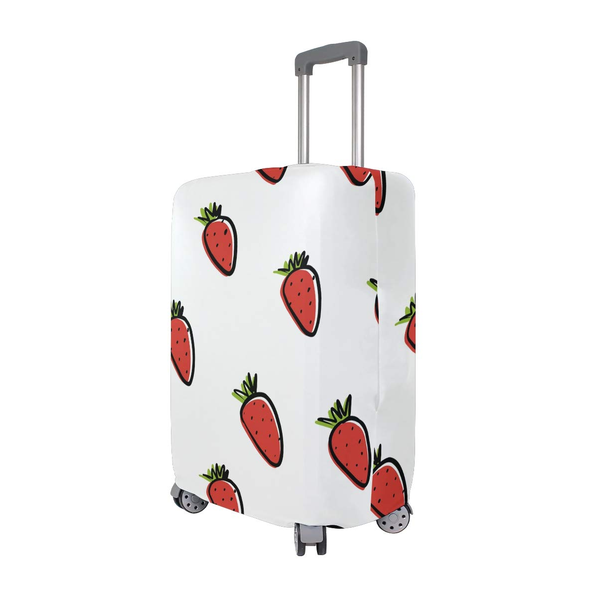 Baggage Covers Red Strawberries Pattern Summer White Washable Protective Case