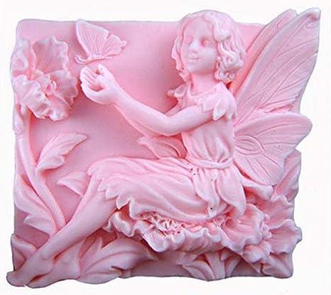 Hada Flores jugar con mariposa 50185 Craft arte silicona jabón molde Craft moldes DIY: Amazon.es: Hogar