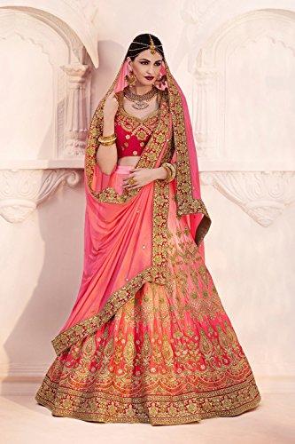 IWS Womens Satin Fabric Pink Pretty Circular Lehenga Style 83829