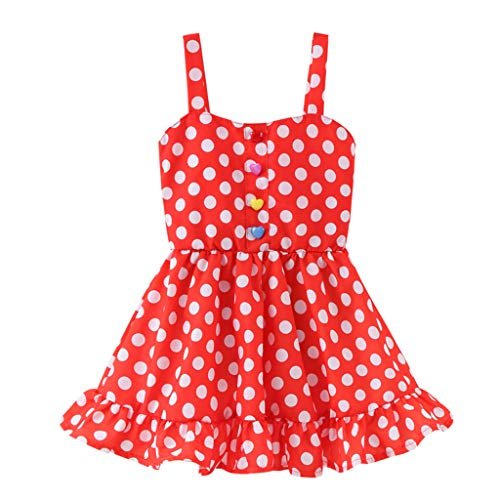 Sunhusing Toddler Children Sleeveless Sling Colorful Buckle Striped Wavy Printed Dress Princess Sundress Red ()