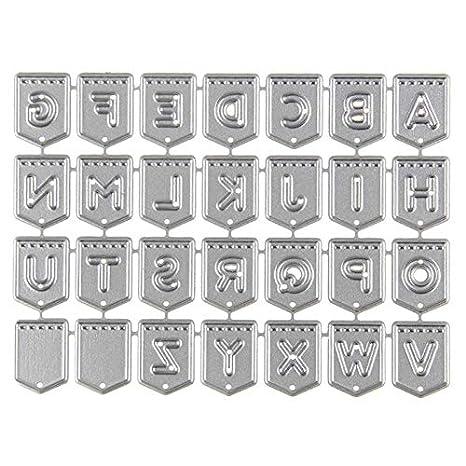NaiCasy Inglés Alfabeto Letras Metal para Repujado Plantilla para DIY einklebe Libro Álbum de Fotos Tarjetas de Papel Decorativa Artesanía Fabricación: ...