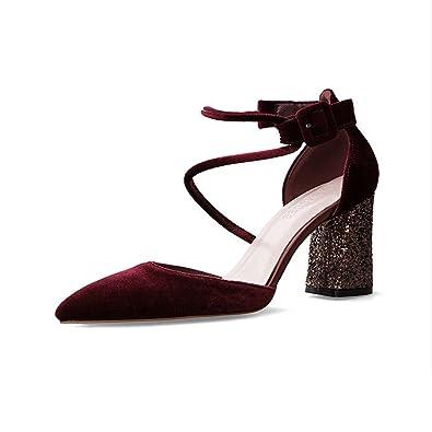 941aa8a18fc607 Femme Chaussures Talons Hauts Sandale Brillant Bloc Pointu Pumps Single Bride  Cheville Escarpins Bordeaux 34