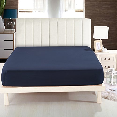 Lullabi Bedding 100% Ultra Soft Microfiber, Double-side Brushed Finish, , Wrinkle, Fade, Stain Resistant, One Fitted Bed Sheet (Queen, Navy) (Fitted Sheet 1)