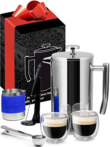 Large French Press Premuim Stainless Steel Edition 34oz +7 Bonus Accessories Included, Electric Milk Frother & Mixing Pitcher, Coffee Scoop & Coffee Bag Clip, 2x Espresso Glasses, 3x Mesh Screens