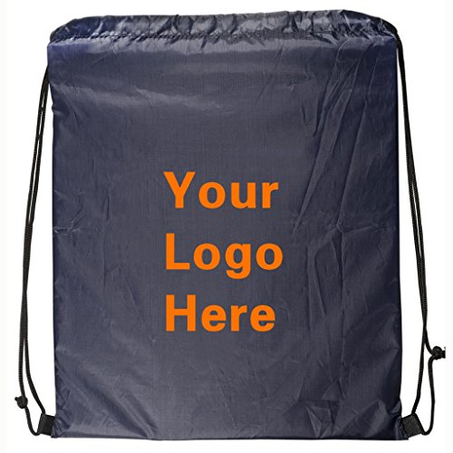 Ultra-Light Promotional Drawstring Bag String-A-Sling Backpack- 13''w x 16''h- 150 Quantity - $1.60 Each-Promotional Products Bulk Custom Branded with YOUR LOGO for Free/C2BPromo #C2BB0050-Navy by C2BPROMO.COM YOU PRICE IT. WE DELIVER IT.
