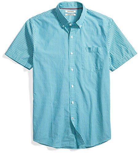 Goodthreads Men's Slim-Fit Short-Sleeve Two-Color Check Shirt Shirt, Blue/Aqua, Large