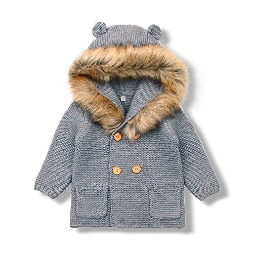 mimixiong Baby Boy Cardigan Sweater with Fake Fur Long Sleeve Coats ()