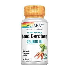 Solaray Food Carotene 25000 IU Softgel, 50 Count