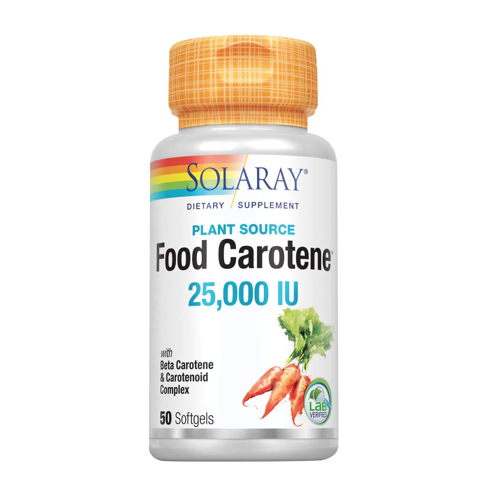 Solaray Food Carotene, Vitamin A as Beta Carotene 25000IU | Carotenoids for Healthy Skin & Eyes, Antioxidant Activity & Immune System Support | 50ct