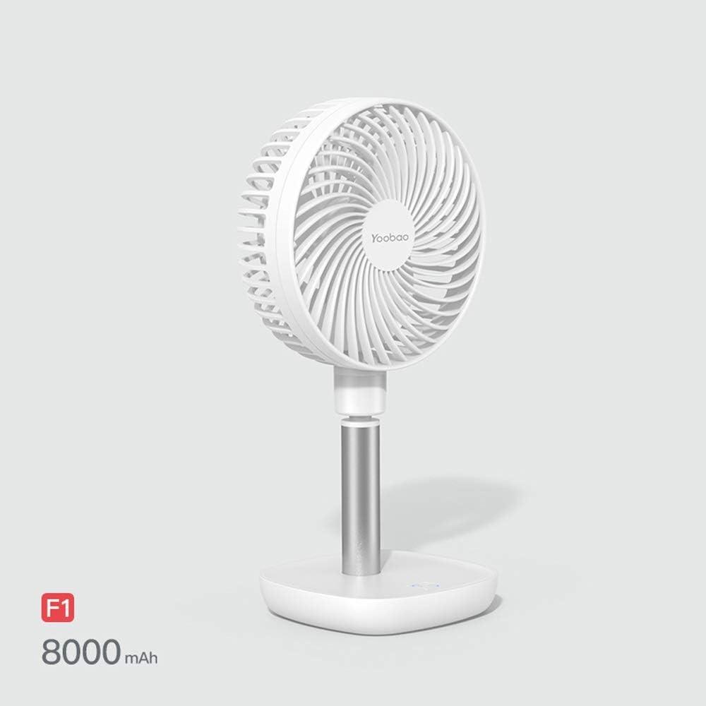 Suitable for Library Dormitory Kitchen Bedroom Office 4000mAh Turbo Handheld Silent USB Table Fan Sunny Lingt Desktop Mini Fan 16 cm Hood Brushless Motor Adjustable Detachable Desktop Fan White