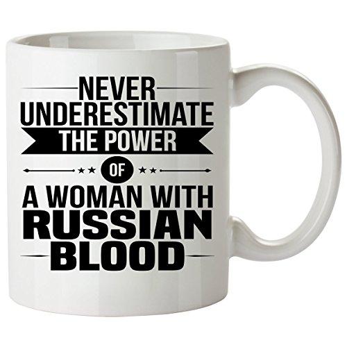 Never Underestimate RUSSIAN Coffee Mug 11 Oz - Good Gifts for Girls - Unique Coffee Cup - Decor Decal Souvenirs Memorabilia