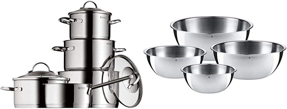 WMF Provence Plus - Batería de Cocina, Acero Inoxidable Cromargan, Tapas de Cristal, Apta para Todo Tipo de Cocinas, 5 Piezas + Gourmet-Set de 4 Boles, Acero Inoxidable Mate