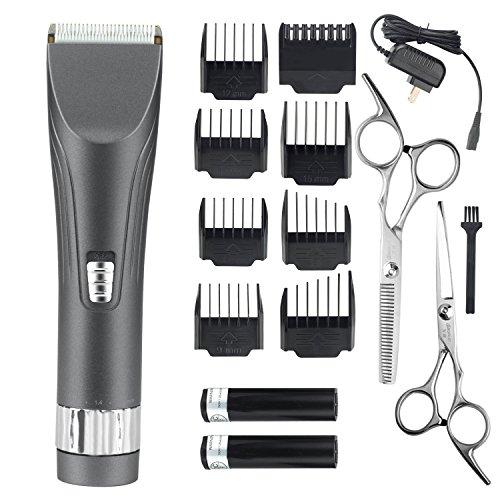 WARMLIFE Professional Cordless Hair Clippers Set Electric Hair Trimmer for Men and Baby Rechargeable Haircut Kit with 2 Batteries 8 Combs 2 Scissors (Gray)