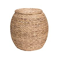 Household Essentials ML-4105 Large Round Wicker Storage Basket Side Table with Lid | Water Hyacinth