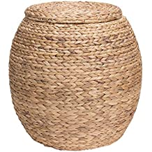 Household Essentials ML-4105 Large Round Wicker Storage Basket Side Table with Lid   Water Hyacinth