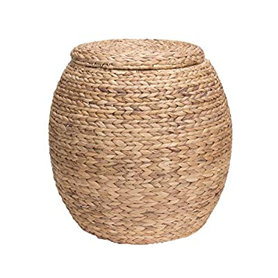 Household Essentials ML-4105 Barrel Storage Tub W-Lid | Water Hyacinth - Charming woven water hyacinth storage basket that can also be used as a seat Thick water hyacinth reeds create a large braided weave for a beautiful and striking wicker Versatile design fits well in most decors and works wonderfully in bedrooms, living rooms, offices, and even on the porch - living-room-decor, living-room, baskets-storage - 51KqbymS3nL. SS400  -