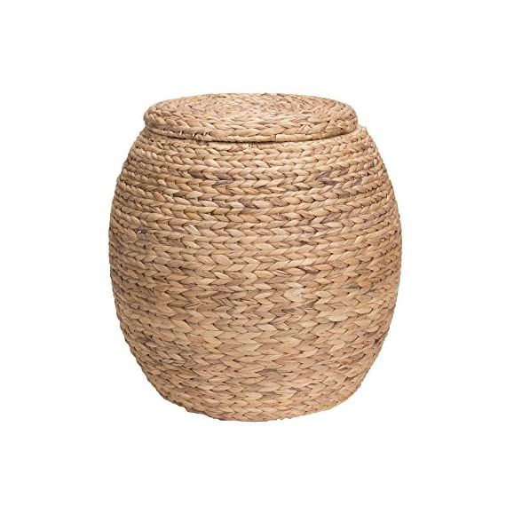 Household Essentials Ml-4105 Barrel Storage Tub W-Lid | Water Hyacinth - Charming woven water hyacinth storage basket that can also be used as a seat Thick water hyacinth reeds create a large braided weave for a beautiful and striking wicker Versatile design fits well in most decors and works wonderfully in bedrooms, living rooms, offices, and even on the porch - living-room-decor, living-room, baskets-storage - 51KqbymS3nL. SS570  -