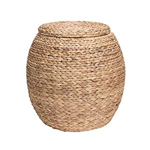 household essentials large round water hyacinth wicker storage basket with lid home. Black Bedroom Furniture Sets. Home Design Ideas