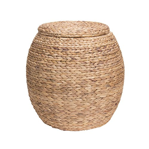 Round Reed Basket (Household Essentials ML-4105 Large Round Wicker Storage Basket Side Table with Lid | Water Hyacinth)