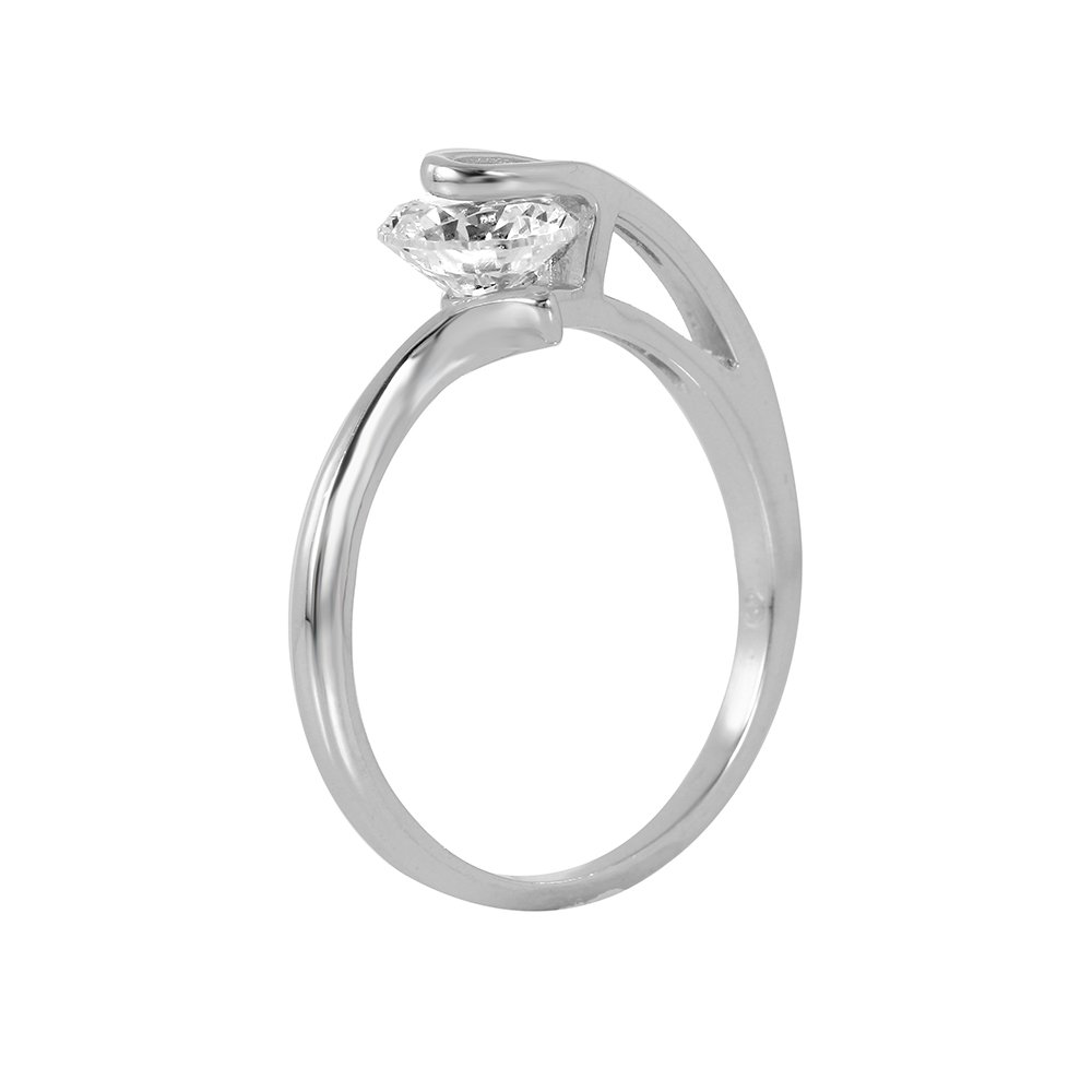 Clear Round Cubic Zirconia Plain Loop Ring Rhodium Plated Sterling Silver