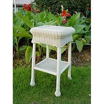 Amazoncom Wicker Lane Outdoor White Wicker Patio Furniture End