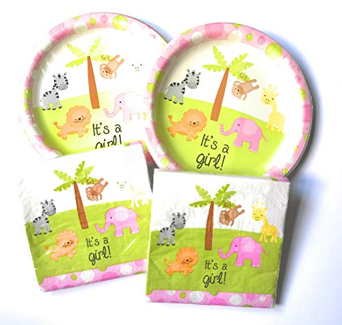 Girl Baby Shower Plates And Napkins (A Girl Baby Shower Paper Plates and Napkins Set - 36 Large Plates and 40 Napkins Featuring Cute Animal Theme!)