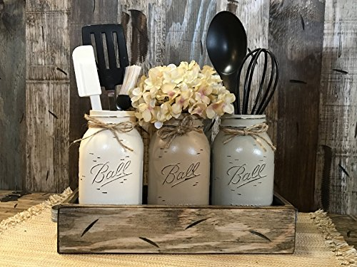 Lodge Pine Coffee Table (Mason Canning Jar Utensil Holder Kitchen Table Centerpiece 3 Hand Painted Ball QUART Jars in Distressed Wood Antique White Red Blue Tray handles -CREAM, COFFEE, THISTLE (pictured) Flowers (optional))