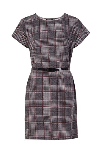 Belted Check (Boohoo Womens Olivia Belted Check Shift Dress In Red Size 8)