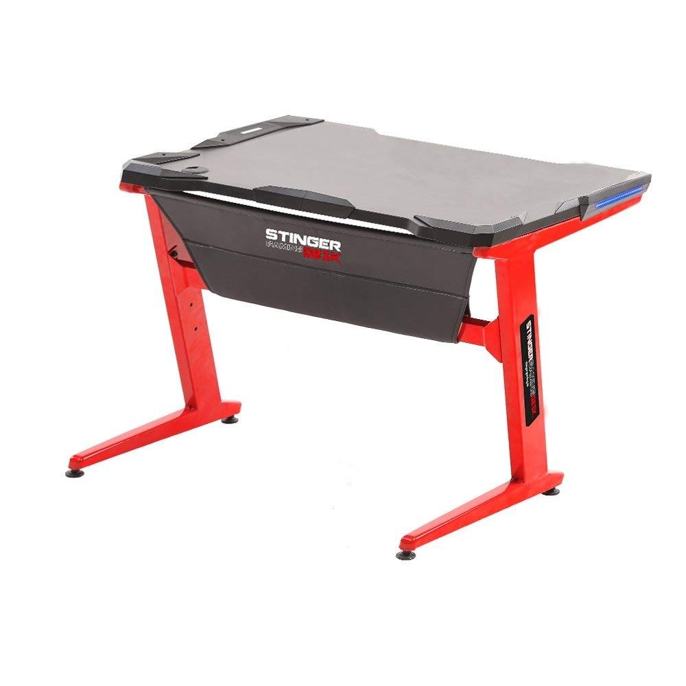 Z-Struktur Stinger Gaming Desk Gaming-Tisch stabile Stahlf/ü/ße gro/ße Spielfl/äche LED-Beleuchtung an den Seiten Rot Kabel/öffnung