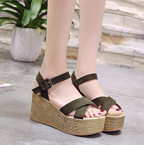 Estate Tacchi Le 9Cm Sandali KPHY Spesso China donna I Tallone Inferiore Donne Scarpe Sandali da Slim I bello China Wild black Muffin AA0Tfwaq