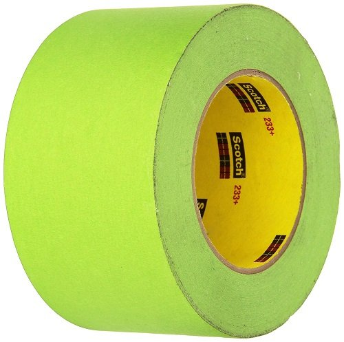 3M Scotch 233+ Crepe Paper Automotive Refinish Performance Masking Tape, 250 Degree F Performance Temperature, 25 lbs/in Tensile Strength, 55m Length x 72mm Width, Green ()