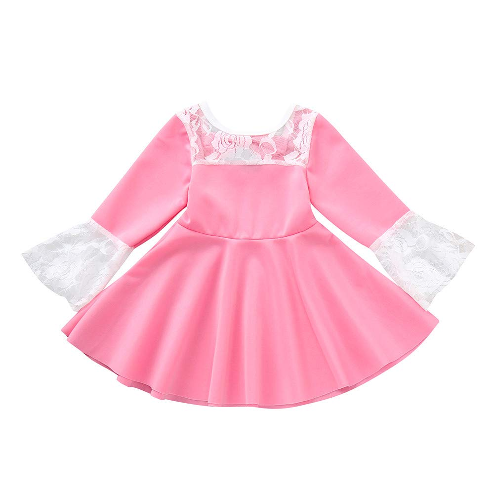 Veepola Toddler Infant Baby Girls Long Sleeve Lace Dress Bow Princess Dress