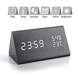 Yaya Tech Triangle Wooden LED Alarm Clock, Voice Control Wood USB Digital Alarm Desk Clock for Home Office with Time Date Temperature Display - 3 Level Adjustable Brightness Bedside Touch Clock
