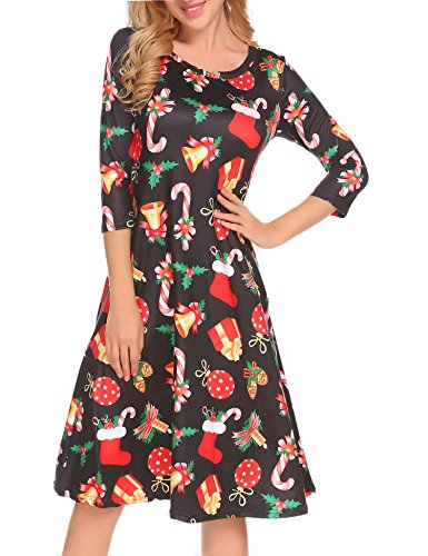 82864e2965bef Hotouch Womens 3 4 Sleeve Christmas Xmas Print Flared A Line Loose Swing  Dress (