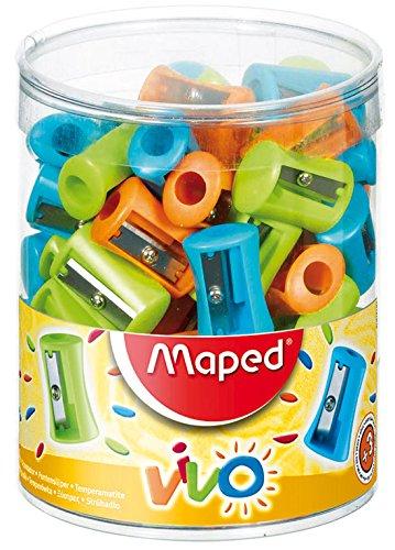 Assorted Colours Box of 75 Maped 1 Hole Vivo Pencil Sharpener 506300