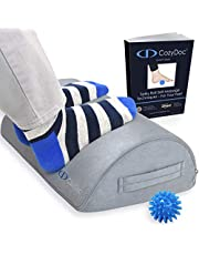 CozyDoc Ergonomic Foot Rest Cushion Under Desk + Massage Ball | The Most Comfortable Footrest for Home, Office, Travel | Doctor Designed Orthopedic Foam for Feet, Knee, Back Pain Relief【Gray】