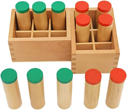 Juego De 2 Cajas De Sonido Montessori De Madera - Cada Caja con 6 Cilindros De Sonido Diferentes Que Se Llenan con Diferentes Materiales - Educación S: Amazon.es: Hogar