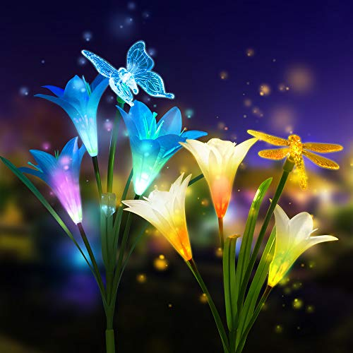 - Solar Garden Lights Outdoor, New Version CCJK 2 Pack Solar Stake Lights with 6 Lily Flower Butterfly Decorative Lights, Color Changing LED Garden Lights for Path, Yard, Patio Decorations(White&Blue)