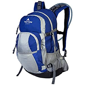 TETON Sports Oasis 1200 3-Liter Hydration Backpack; Day Pack Perfect for Hiking, Cycling, Biking, Climbing, Hunting, Running, and Outdoor Activities; 3L Water Bladder Included; Sewn-in Rain Cover; Blue/Grey