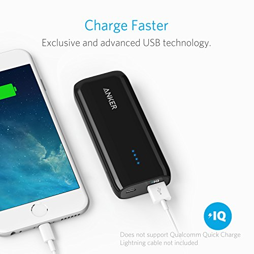 Anker Astro E1 5200mAh Candy bar Sized extra sleek and trendy convenient Charger External Battery electric power Bank along with significant performance Charging PowerIQ solutions Black Batteries