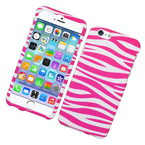 Insten Zebra Rubberized Hard Snap-in Case Cover Compatible with Apple iPhone 6/6s, Pink/White