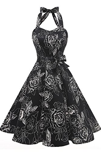 (Topdress Women's Vintage Polka Audrey Dress 1950s Halter Retro Cocktail Dress Black White 3XL)