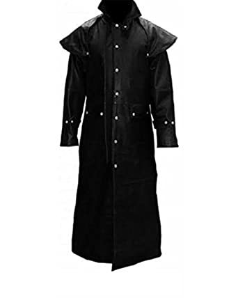 Mens Real Black Leather Duster Riding Hunting Steampunk Trench Coat ... 8462df41a0c8