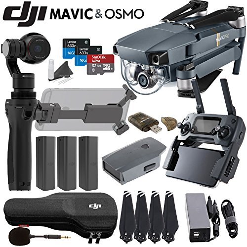 DJI-Mavic-Pro-Collapsible-Quadcopter-Osmo-Combo-Includes-3-Osmo-Batteries-FlexiMic-SanDisk-32GB-MicroSD-Card-and-more