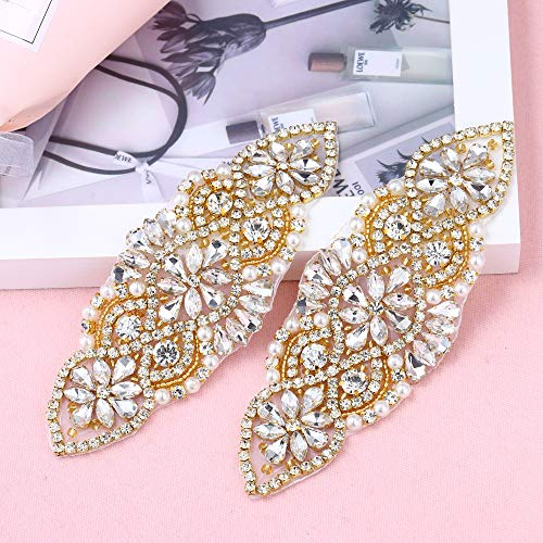 (2 Pieces Beaded Applique with Clear Rhinestones and Pearls, Crystal Patch Trim for DIY Design- Perfect for Wedding Cake Decoration, Flower Girl Basket, Bag Decor, Bridal Dress Accessories (Gold))