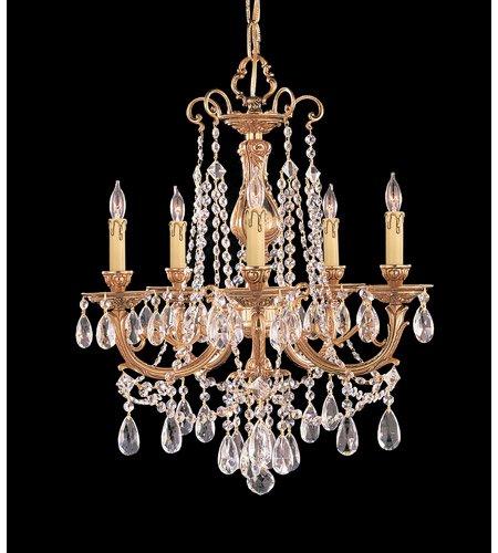 Chandeliers 5 Light With Olde Brass Clear Swarovski Strass Crystal Cast Brass 20 inch 300 Watts - World of - Swarovski Crystal Olde Strass Brass